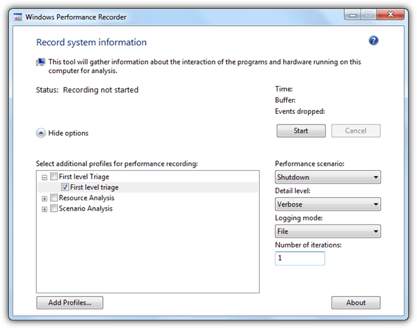 рекордер производительности Windows