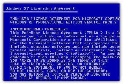 Согласитесь с лицензионным соглашением Windows XP