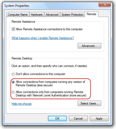 Подключение к удаленному рабочему столу Windows 7 Home Premium