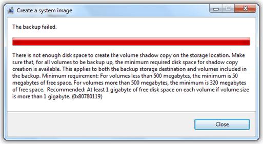 Сбой резервного копирования Windows 7