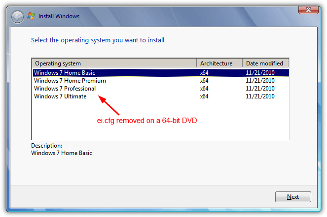 Windows 7 DVD EICFG удалены