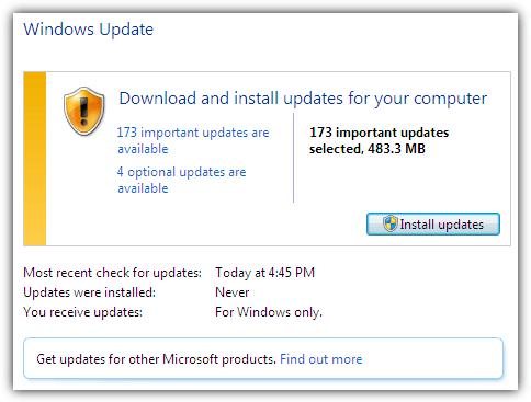 Windows 7 обновлений после установки