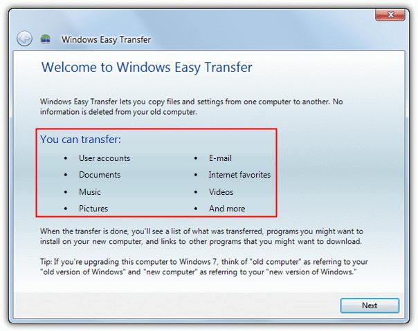 использовать Windows Easy Transfer