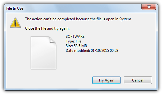 Windows-файл используется