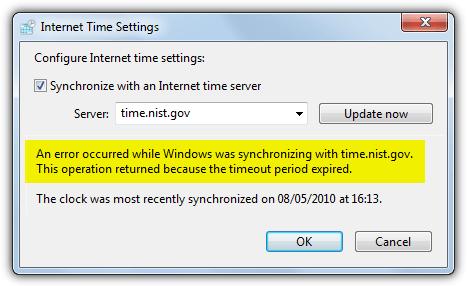 ошибка времени Windows