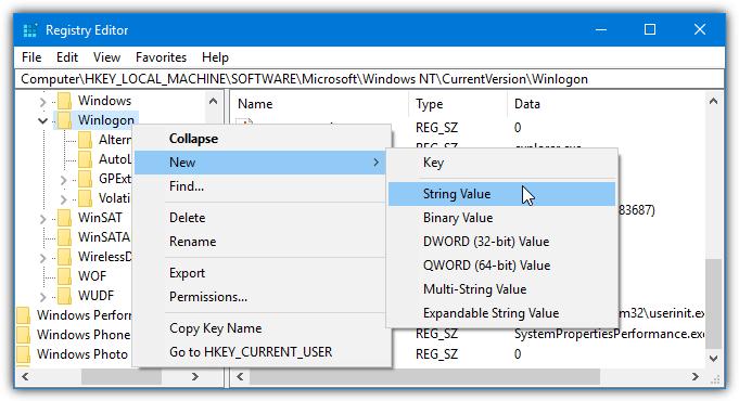 введите новое значение ключ winlogon