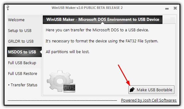 WinUSB MSDOS USB