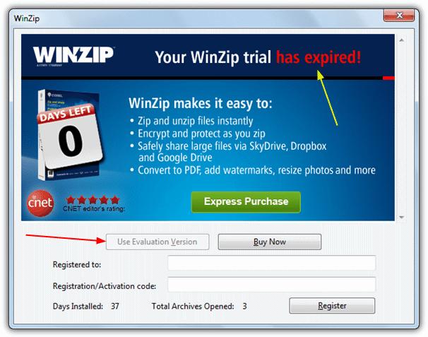 Пробная версия WinZip истекла