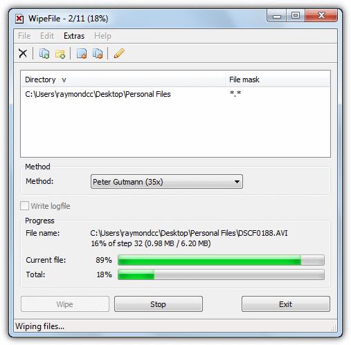 стирание файлов и папок с помощью wipefile