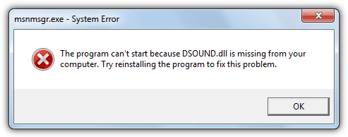 программа не запускается dsound.dll отсутствует
