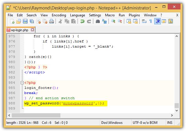 wp_set_password