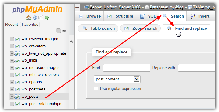 wp_posts найти и заменить