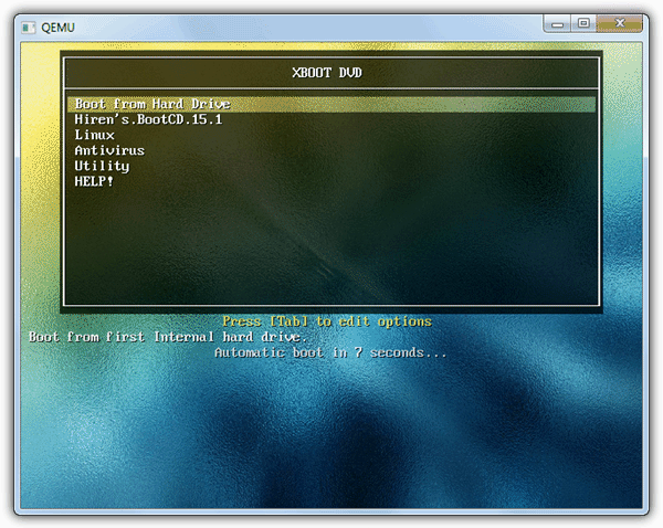 Xboot DVD QEMU