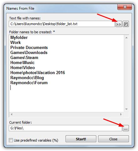 xmd создать несколько папок из списка