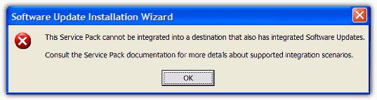 Этот пакет обновления не может быть интегрирована ошибка