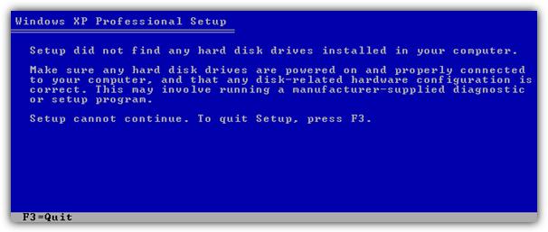 Программа установки не нашла жестких дисков