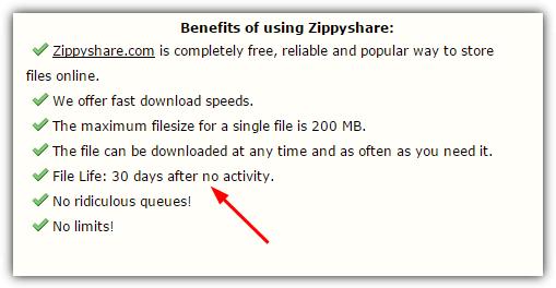 пределы файла zippyshare