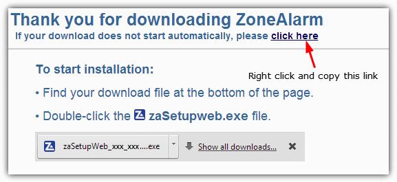 URL загрузки ZoneAlarm