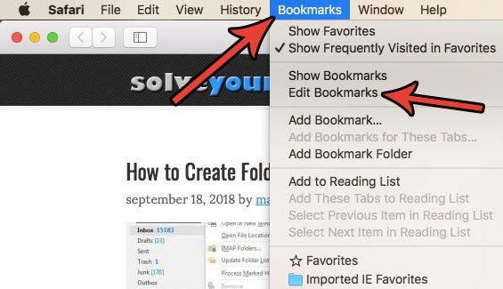Как удалить избранное Safari Mac