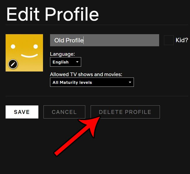 как удалить профиль netflix